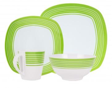 """Melamin-Geschirr Design """"Classic green"""" weiss / grün eckig"""