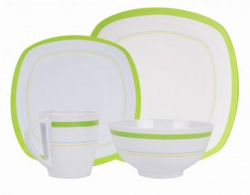 """Melamin-Geschirr Design """"Curl green"""" weiss / grün eckig"""