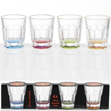 Stapelbares 50 ml Schnapsglas Pinnecken mit farbigem Boden, unzerbrechlich: 4 Stück