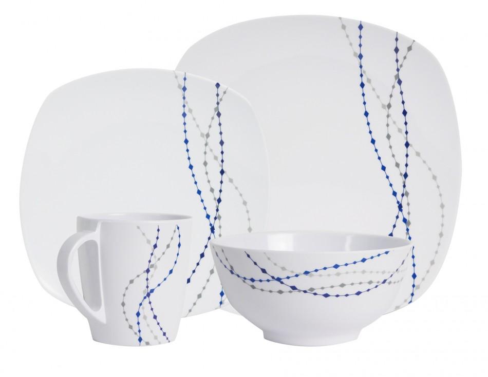 Melamin Geschirr Design Line Weiss Blau Eckig Geschirr Sets