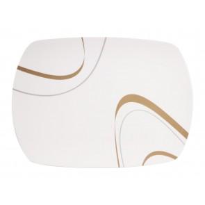 """Servieplatte Design """"Cappuccino"""" elefenbeinweiss / braun, eckig"""