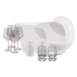 Melamin-Geschirr Circle elfenbeinweiss/grau eckig inkl. Servierschale u. Salatschüssel + Weingläser + Wassergläser aus Polycarbonat