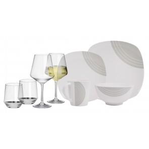 Melamin-Geschirr Circle elfenbeinweiss / grau eckig + Weingläser + Wassergläser aus Polycarbonat