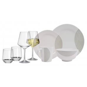 Melamin-Geschirr Circle elfenbeinweiss/grau rund inkl. Servierschale u. Salatschüssel + Weingläser + Wassergläser aus Polycarbonat