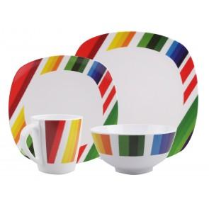 "Melamin-Geschirr Design ""Color Strips"" weiss / bunt eckig"