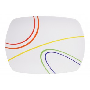 "Servieplatte Design ""Color Line"" weiss / bunt, eckig"