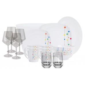 Melamin-Geschirr Color Point weiss/bunteckig inkl. Servierschale u. Salatschüssel + Weingläser + Wassergläser aus Polycarbonat