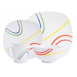"Melamin-Geschirr Design ""Color Line"" weiss / bunt eckig"