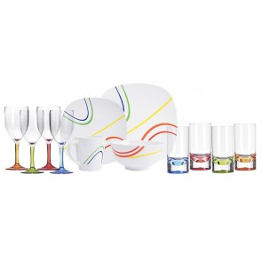 Melamin-Geschirr Color Line weiss / bunt eckig + Weingläser + Wassergläser aus Acryl