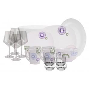 Melamin-Geschirr Kreisel weiss/bunt eckig inkl. Servierschale u. Salatschüssel + Weingläser + Wassergläser aus Polycarbonat