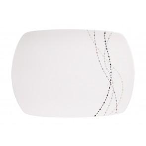 """Servieplatte Design """"Line"""" elefenbeinweiss / grau, eckig"""