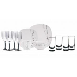 Melamin-Geschirr Line weiss / grau eckig + Weingläser + Wassergläser aus Acryl
