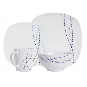 """Melamin-Geschirr Design """"Line"""" weiss / blau eckig"""