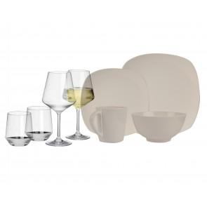 Melamin-Geschirr Plain elfenbeinweiss eckig + Weingläser + Wassergläser aus Polycarbonat