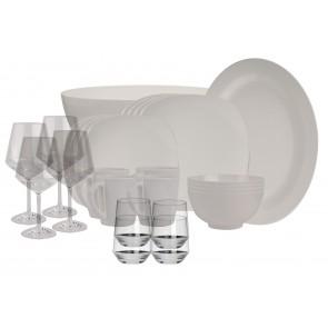 Melamin-Geschirr Purely elfenbeinweiss eckig inkl. Servierschale u. Salatschüssel + Weingläser + Wassergläser aus Polycarbonat