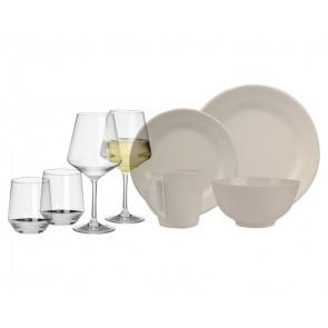 Melamin-Geschirr Plain elfenbeinweiss rund + Weingläser + Wassergläser aus Polycarbonat