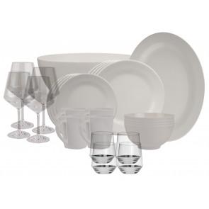 Melamin-Geschirr Plain elfenbeinweiss rund inkl. Servierschale u. Salatschüssel + Weingläser + Wassergläser aus Polycarbonat