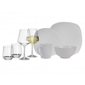 Melamin-Geschirr Purely weiss eckig + Weingläser + Wassergläser aus Polycarbonat