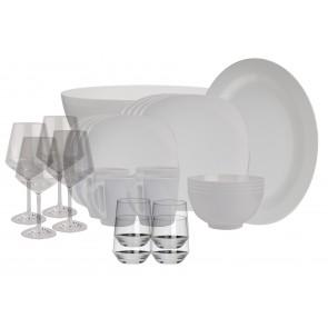 Melamin-Geschirr Purely weiss eckig inkl. Servierschale u. Salatschüssel + Weingläser + Wassergläser aus Polycarbonat