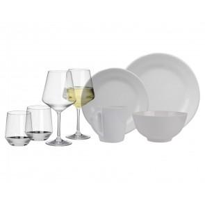 Melamin-Geschirr Purely weiss rund + Weingläser + Wassergläser aus Polycarbonat