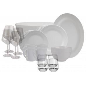 Melamin-Geschirr Purely weiss rund inkl. Servierschale u. Salatschüssel + Weingläser + Wassergläser aus Polycarbonat