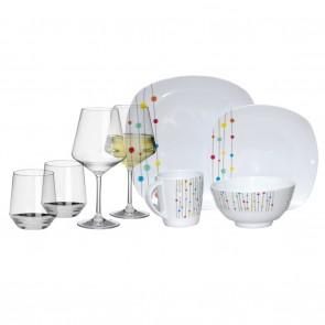 Melamin-Geschirr Color Point weiss/bunt eckig + Weingläser + Wassergläser aus Polycarbonat