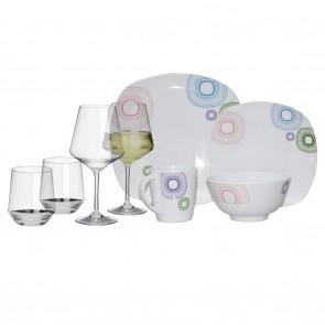 Melamin-Geschirr Kreisel weiss/bunt eckig + Weingläser + Wassergläser aus Polycarbonat