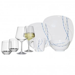 Melamin-Geschirr Line weiss/blau eckig + Weingläser + Wassergläser aus Polycarbonat