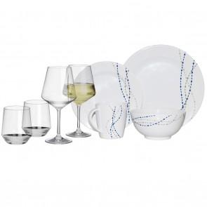 Melamin-Geschirr Line weiss/blau rund + Weingläser + Wassergläser aus Polycarbonat
